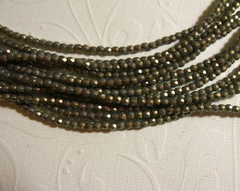 3mm Fire Polish Czech Glass Beads - Pantone Glacier Gray Oro - 50 beads