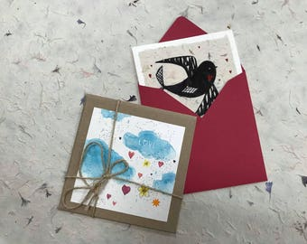 Birthday Card, Love card, Card for Him, Painting gift Card, Holiday Card, Valentines Card, Hearts Card, Multiple Hearts Valentines Day Card