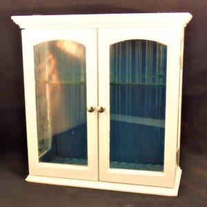 Vintage wood and glass cabinet, display cabinet, white decorative display cabinet, blue and white display cabinet, wall cabinet