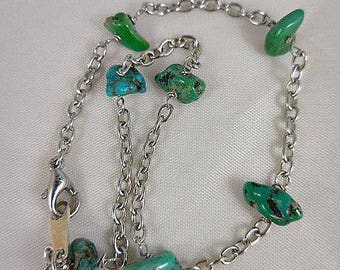 Vintage Turquoise and Silver Chain Ankle Bracelet