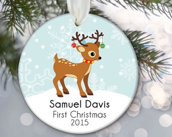 Baby's First Christmas Ornament, Baby Boy or Girl Deer or Twins, Baby Ornament, Personalized Christmas ornament with childs name year OR283