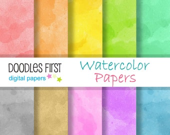 Watercolor Papers Digital Paper Pack Includes 10 for Scrapbooking Paper Crafts