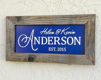 Custom Family Name Sign. Modern Family Sign. Wooden Frame Sign. Established Family Name Sign. Rustic Signs. Custom Wedding Gift. 20x10