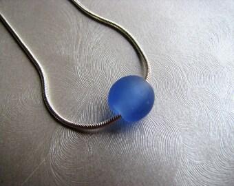 Genuine Sea Glass Tiny Blue Marble Pendant -Authentic Sea Glass Marble- Pure Beach Glass Marble -Ocean Gift - Prince Edward Island Sea Glass