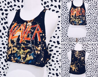 Slayer Cropped Tank Top with Red Studded Shoulders - Bleached, Distressed Shredded Shirt, Tee, Band Shirt, Repurposed, Vintage Inspired