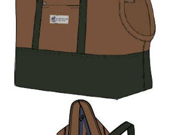 Canvas Pet Tote - Water Resistant Dog Carrier with Zipper - British Tan & Olive Green