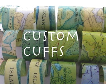 Custom Chart Map Cuff Bracelet