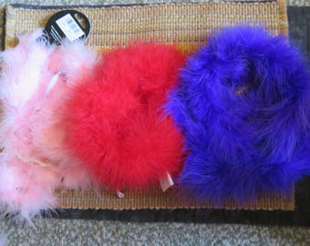 Marabou feather craft boa,medium weight,6 ft,red,purple,pink,Crafts,costume trim,sewing,Zucker Feather