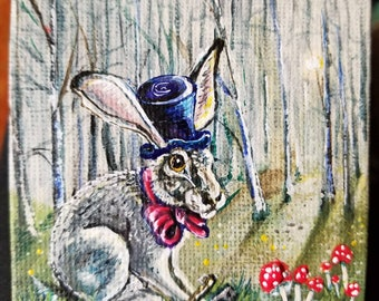 A Wonderland March Hare dressed for tea with the keys for adventure