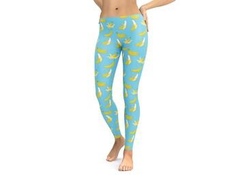 Leggings Banana Leggings or Capris Woman's Leggings Printed Leggings Yoga Workout Exercise Pants Crazy Unique Funny Leggings Tight Pants