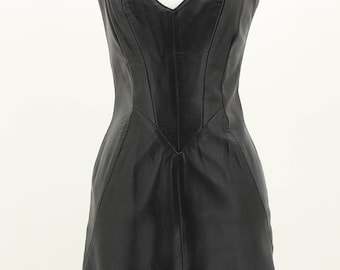 Firenze Vintage Black Leather Dress Size Medium M