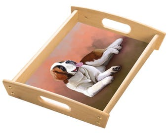 Saint Bernard Dog Wood Serving Tray with Handles Natural