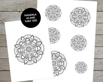 Printable Mandala (No.2) - Hand Drawn - Ideal For Bullet Journal - A5 and Mini Size Mandalas - Printable Planner Stickers