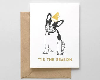 Holiday Pup Letterpress & Gold Foil Greeting Card