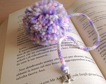 Bookmark with pompom in shades of lilac handmade