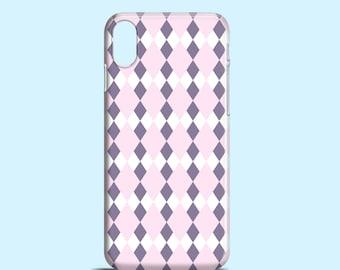 Pastel Pink Argyle iPhone case, lilac iPhone X case, iPhone 8, iPhone 7, pastel iPhone 7 Plus, iPhone SE, iPhone 6S, iPhone 6, iPhone 5/5S