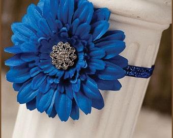 Royal Blue Flower Glitter Elastic  Headband  - Blue Elastic Headband - Blue Toddler Headband - Adult Blue Flower Headband - Blue Glitter