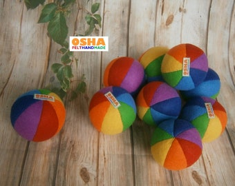 Rainbow stuffed ball rattle Soft toy Fleece Sensory toy Montessori Stuffed toys Felt toys Cloth baby toys Travel toy Toddler toy Fabric ball