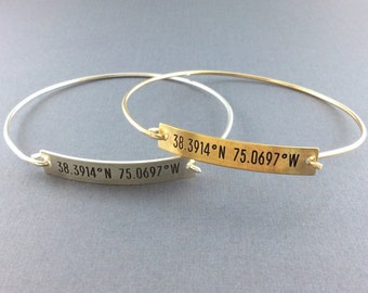 GPS Coordinates Bar Bracelet, Sterling Silver, Brass/14kt Gold Fill, Latitude Longitude Jewelry, Locations Jewelry