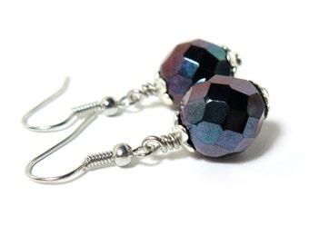 Midnight Purple Czech Glass Beaded Earrings