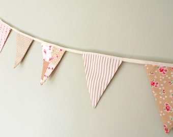 Shabby chic bunting, Fabric bunting, mini bunting, beige banner, sale