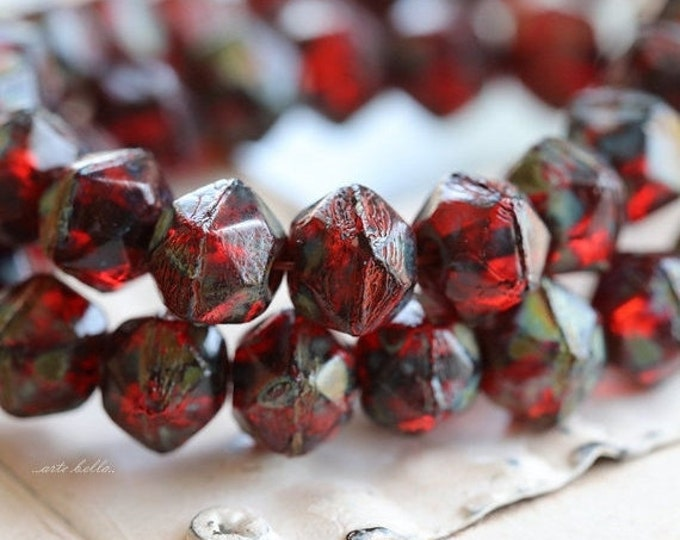 RUBY TREASURES No. 2 .. 20 Picasso Czech Glass English Cut Beads 8mm (5218-st)
