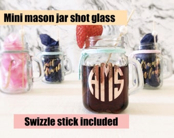 Bridesmaid gift, monogram shot glasses, personalized shot glass, custom maid of honor gift bridal party favor, bridesmaid proposal rose gold