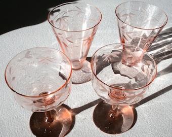 Pink Etched Set Of 2 Parfait & 2 Sherbets Glasses