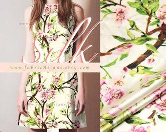 Cherry blossom silk fabric on SALE