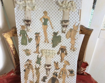 Vintage Paper Doll Assemblage Art Board with Old Lace and Garters, Very Kitsch!