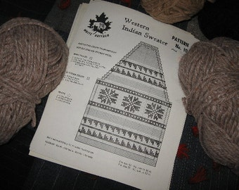 Snowflake Sweater Pattern in PDF format. Cowichan-style, Canadian/ Tradition / Vintage White Buffalo Sweater / Jumper/ Jacket pattern