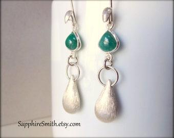 25% off METROPOLIS Earrings, Genuine Emerald Gemstone Sterling Silver Link Earrings, futuristic modern glam, brushed Bali sterling drops