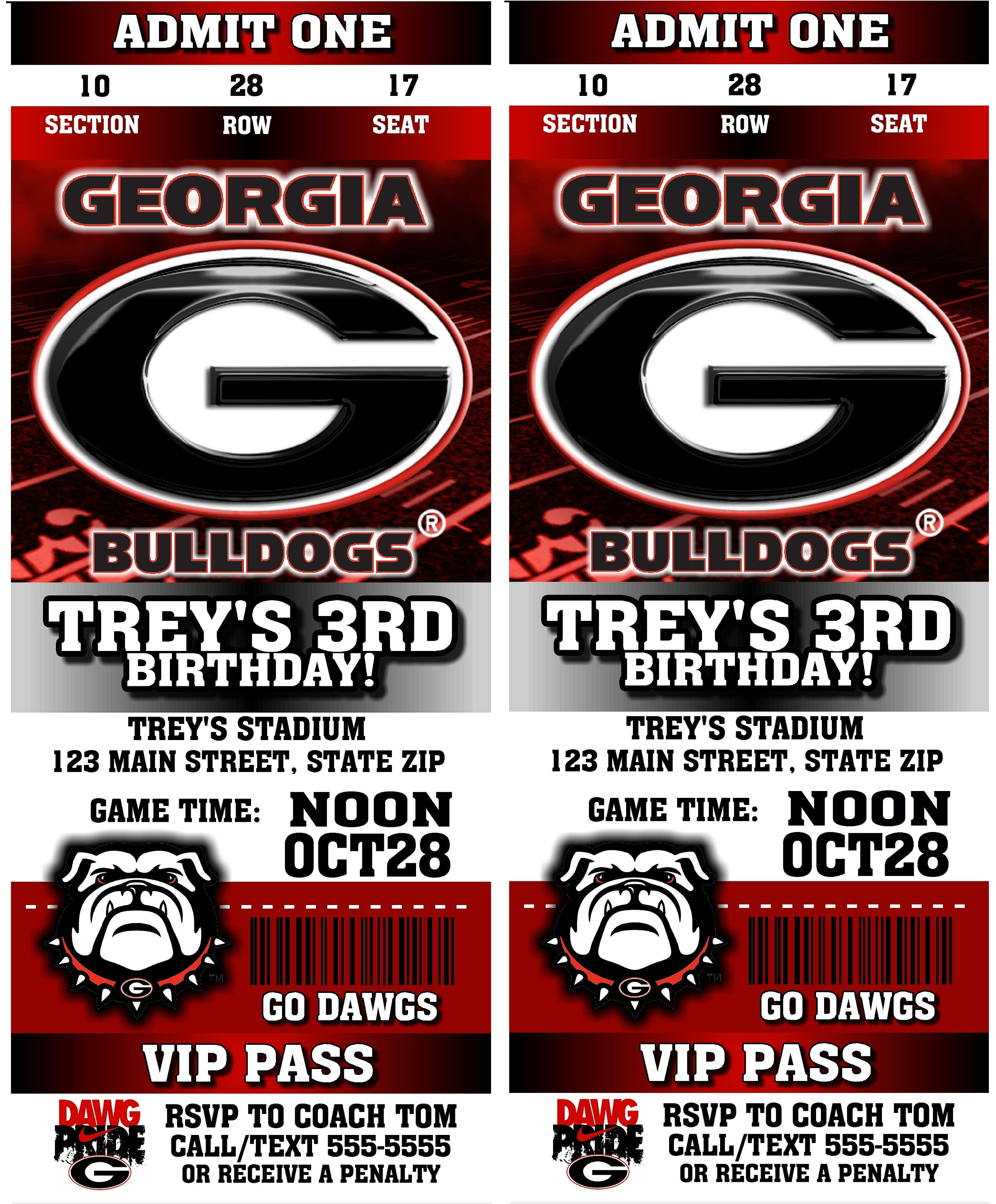 12 PER PACK Birthday Party Invitations Card Georgia Bulldogs