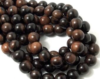 Tiger Ebony, Natural Wood Beads, Round, Smooth, 12mm, Large, Full Strand, 35pcs - ID 1305-DK
