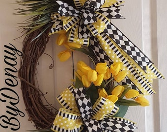 Yellow and Black Spring Wreath