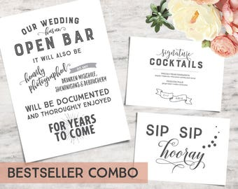 Three-Pack Printable Wedding Bar Sign Templates, Funny Bar Signage - INSTANT DOWNLOAD