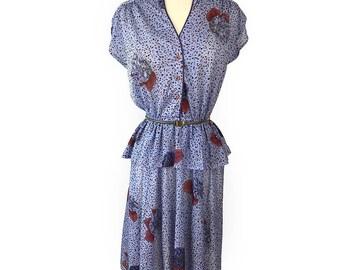 Vintage Peplum Rose Confetti Cap Sleeve dress