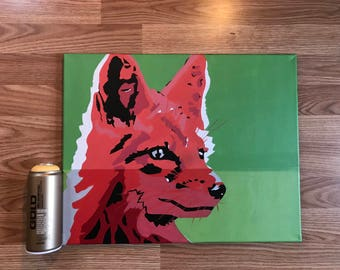 Custom Fox Stencil Painting. Custom Pet Animal Portaits on Streched Canvas. Free Domestic Shipping