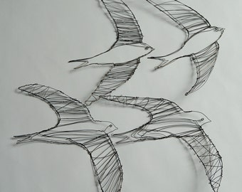 Sculptural Wire Drawings of Four Swifts
