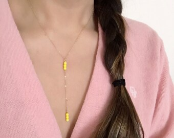 Delicate Y-Necklace-- Sunny Yellow