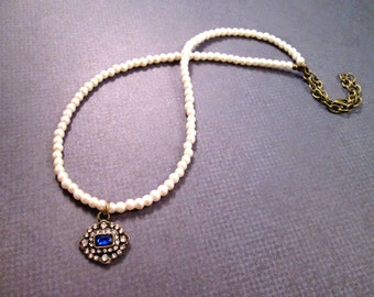 White Pearl Necklace, Sapphire Blue and White Rhinestone Pendant, Victorian Grace, Brass Beaded Necklace, FREE Shipping U.S.
