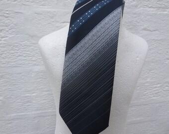 Mens blue necktie stripe tie 1970s vintage gift for him office work present birthday gift necktie 70s Britain fashion neckwear retro rustic.