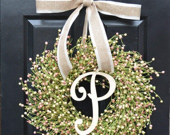 Ready to Ship Spring Berry Wreath, Spring Decor, Spring Wreath, Easter Wreath Decor, Year Round Wreath, Pink, Green, Cre