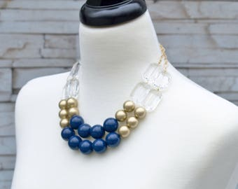 Navy Blue Bib Necklace - Bold Large Beaded Statement Necklace - Round Graduated Layer Strand Necklace - Blue Wedding Jewelry