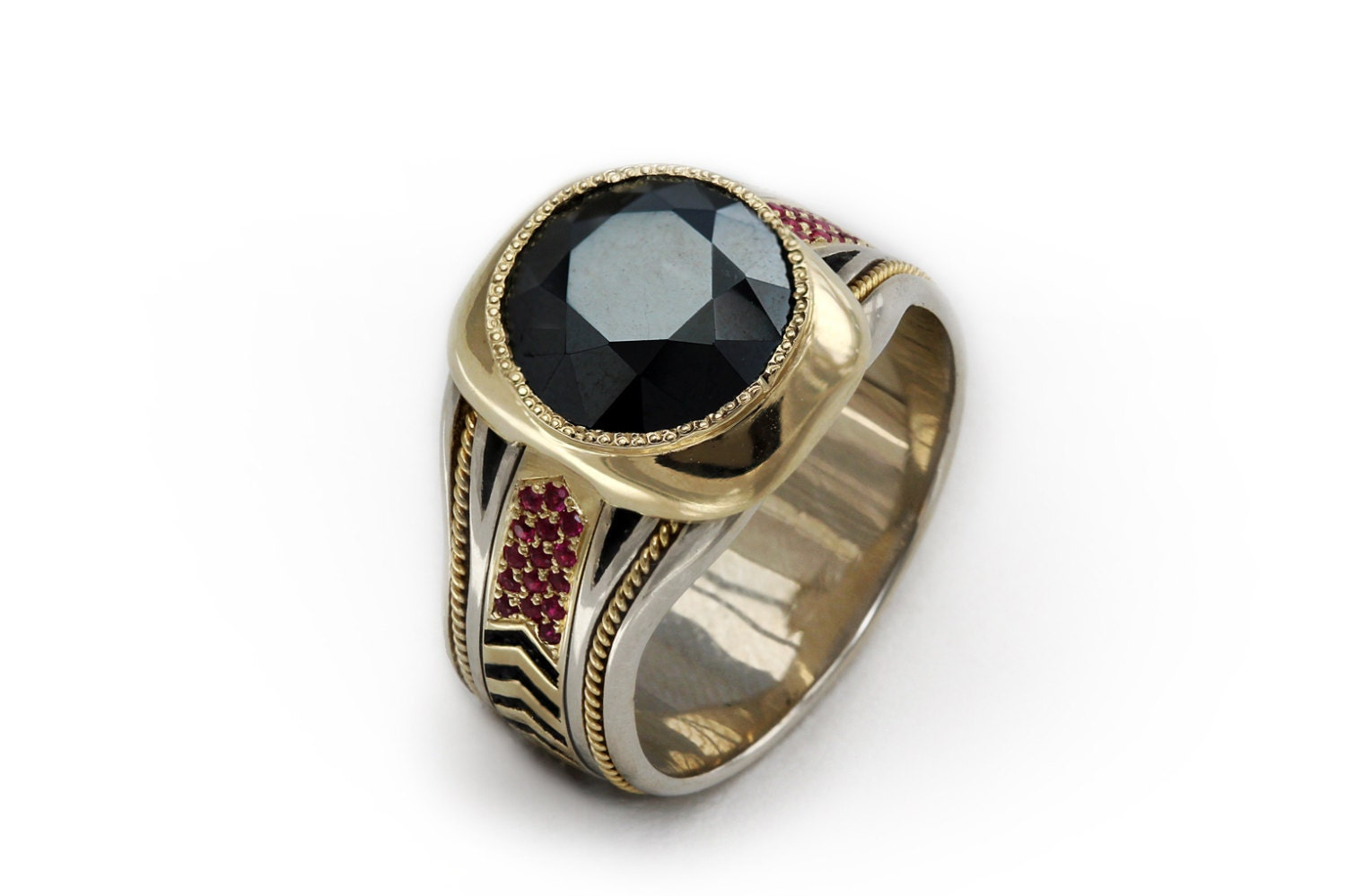 Black spinel 14k gold men\'s ring Gemstone cocktail ring