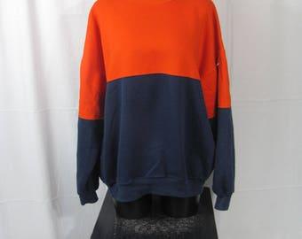 Cool Vintage Oversized Orange and Blue Pullover Sweatshirt Color Block Long Sleeve Comfy Sweatshirt Mens Womens