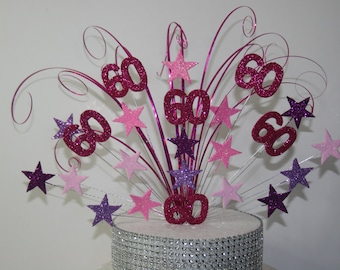 0059 Birthday Cake Decoration, Cake Spray, Wired Spray, Cake Topper 60th Any Age, Any Colour/Colours
