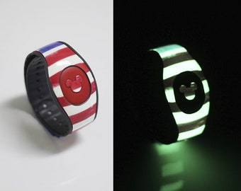 American Flag Glow in the Dark MagicBand Decal, MagicBand 2 Decal,  Red White and Blue,  RTS Ready To Ship, Fits Child & Adult Bands