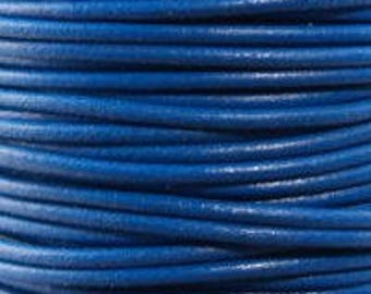 "2mm Round Blue Leather Lace Cord - 2mm 3/32"" Diameter Royal Lapis Denim Craft Jewelry Bracelet Wrap Necklace - I ship Internationally"