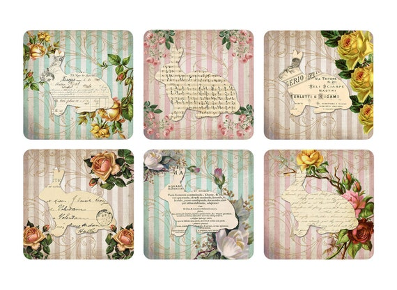 Easter printable gift cards gift tags 7x7cm cute bunnies vintage this is a digital file negle Gallery